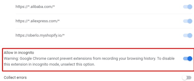 allow Oberlo Chrome extension for Incognito