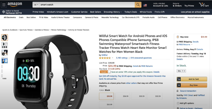 amazon product page opened via zonify