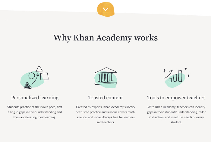 below the fold content of khan academy landing page