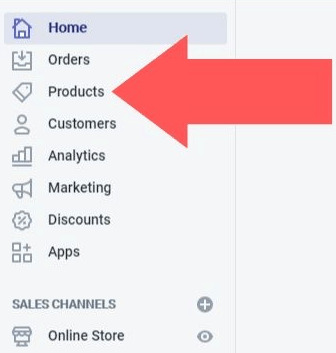 click on products from left sidebar