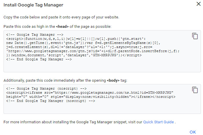 code for google tag manager installation