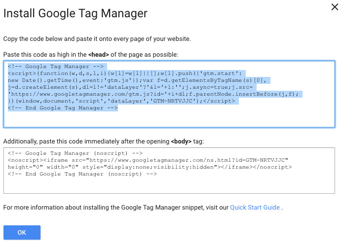 copy google tag manager header tag installation code