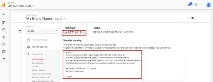 copy tracking id of google analytics