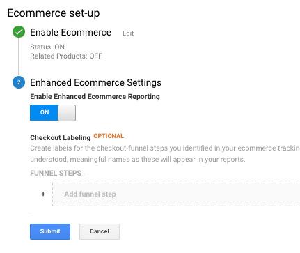 enabling basic ecommerce in google analytics