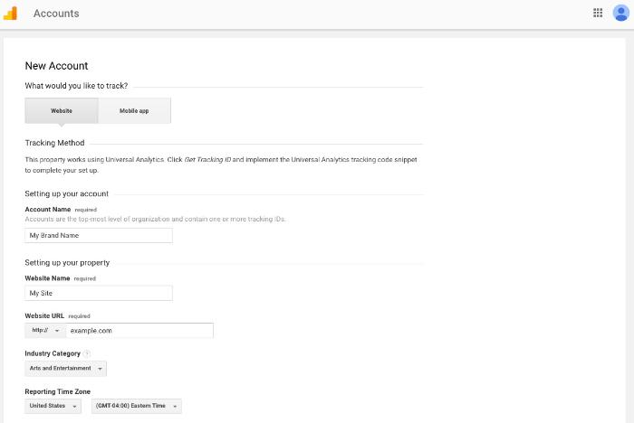 enter account details for shopify google analytics integration