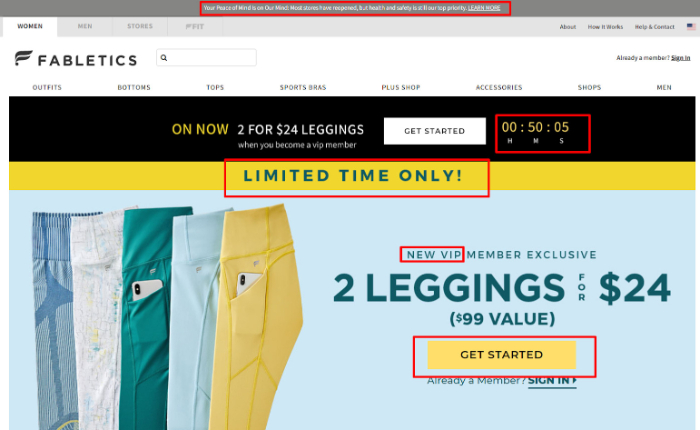 fabletics landing page example