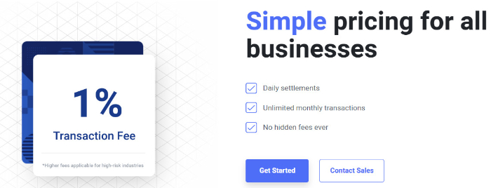 fees and pricing table of bitpay