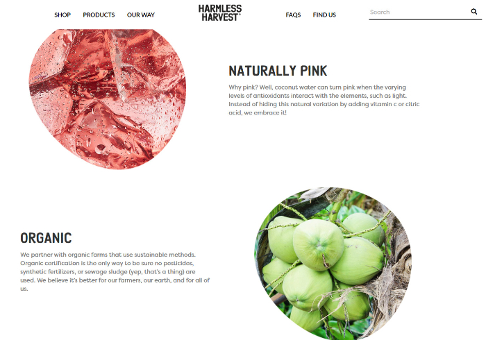 harmless harvest organic water page images