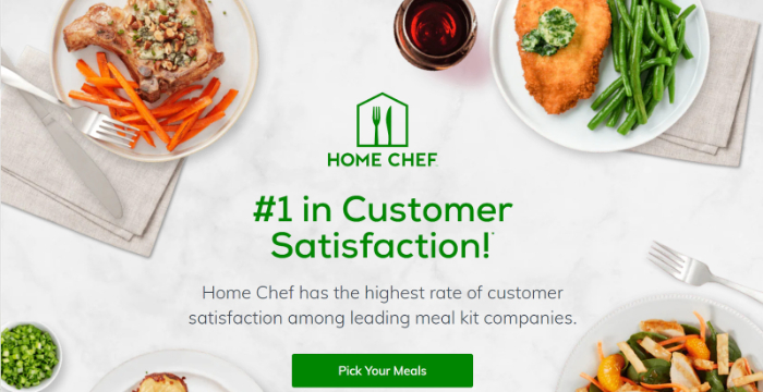home chef landing page example