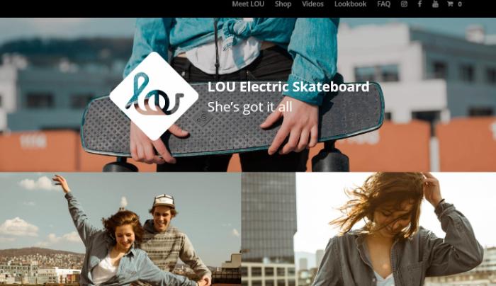 lou electric skateboard landing page