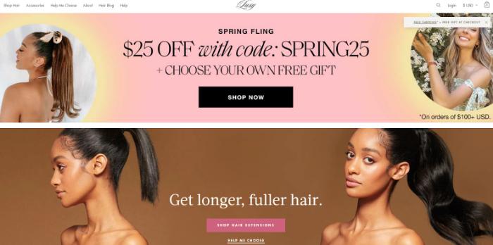 luxy hair eCommerce store example