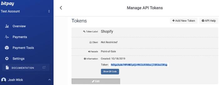manage api tokens on bitpay