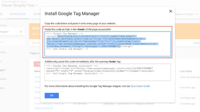 paste the google analytics tracking code