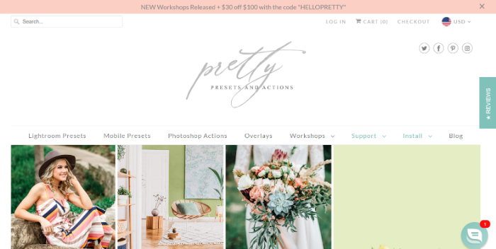 pretty presets eCommerce store example