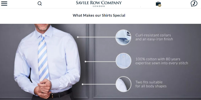 savile row company landing page visuals