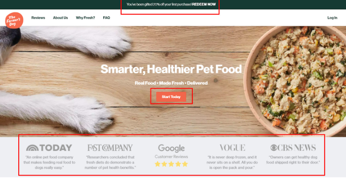 the farmers dog landing page