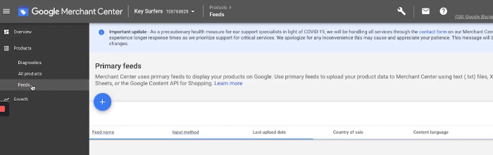 add product to google merchant center account