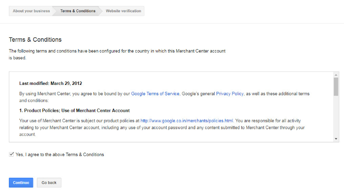 agreeing to terms and services of google merchant center
