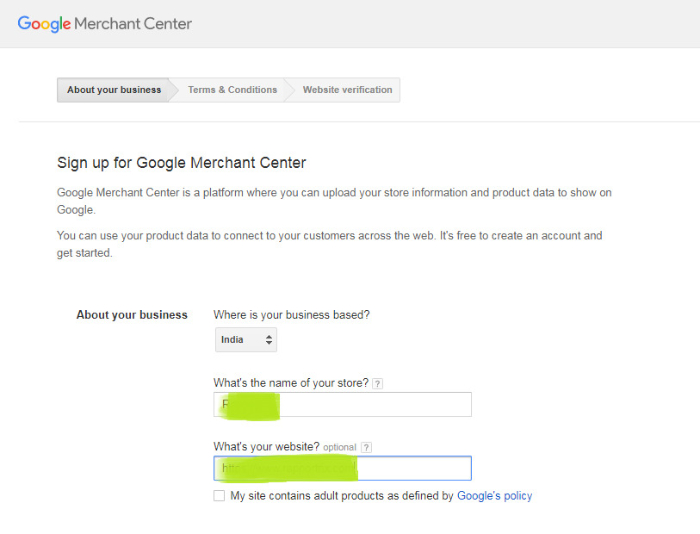 business information required for google merchant center shopify set up