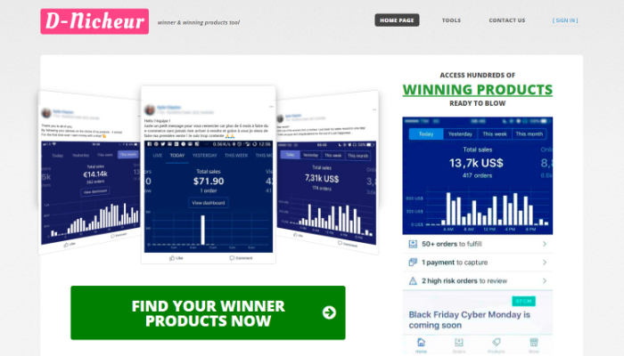d nicheur dropshipping product research tool