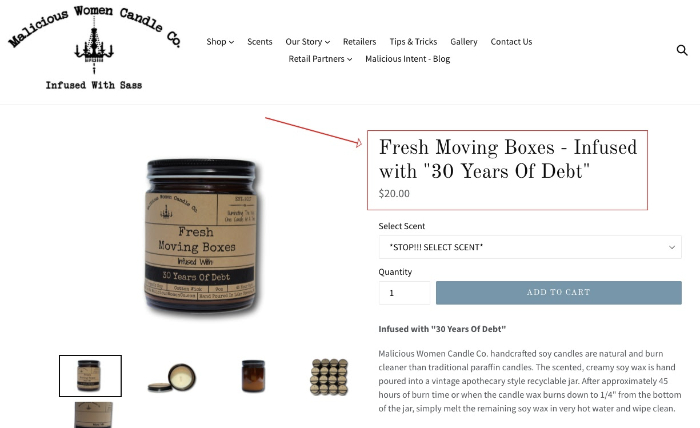 malicious women candle co product content