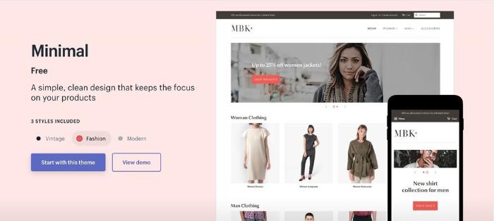 minimal a modern design theme for shopify