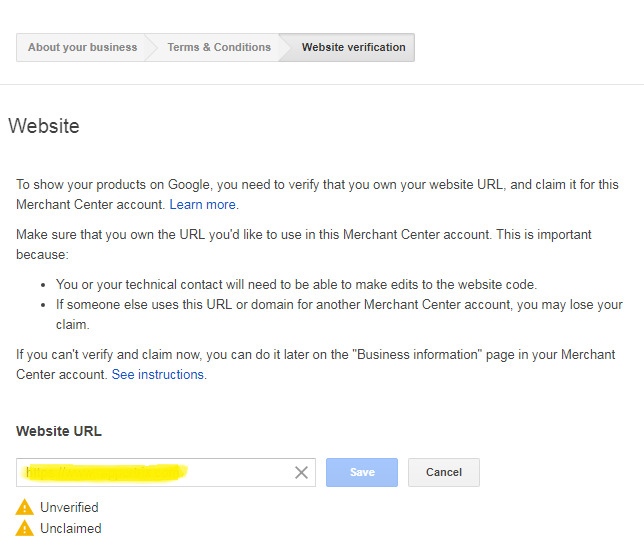 verify your website url on google merchant center