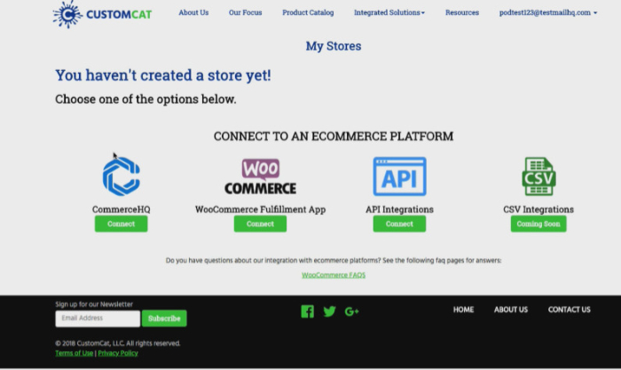 connect your store with customcat print on demand shopify app