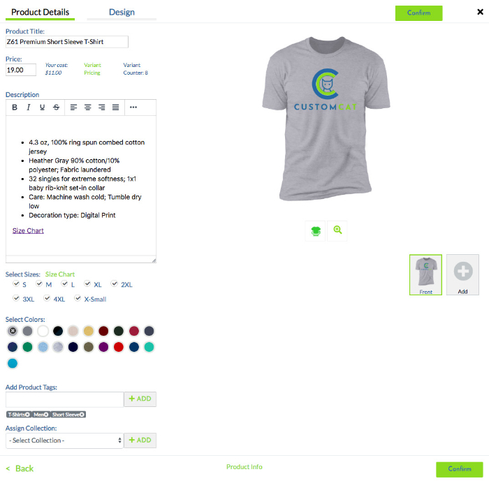 fill in the product details with customcat print on demand shopify app