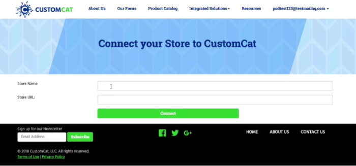 put in your store name and url
