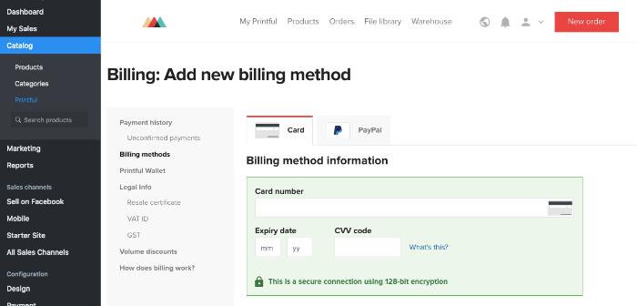 set up billing for print on demand shopify app
