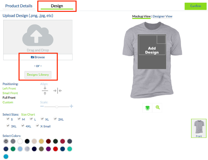 upload design and choose size of the product