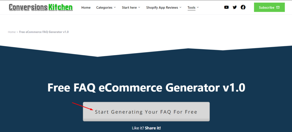 Click on the white button - Start Generating Your FAQ for Free