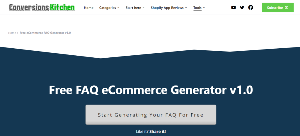 Visit Free eCommerce FAQ Generator