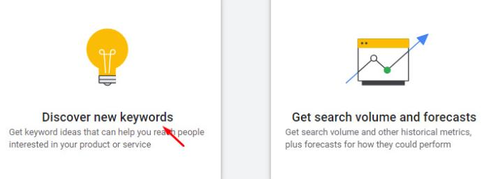 click discover new keywords