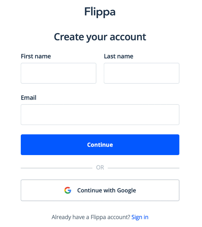 create and account and explore how does flippa work