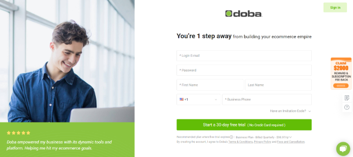 enter details mentioned on the doba dropshipping sign up page