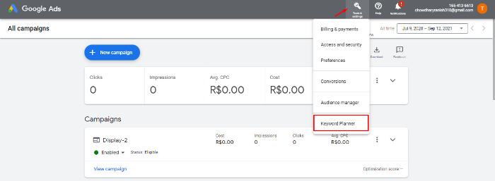 go to tools & settings and click keyword planner