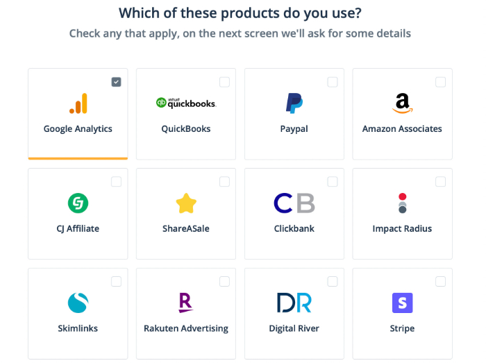 selecting the products you use