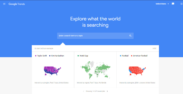 use google trends and know whats trending